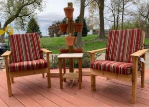 2 Adirondack Chairs, Table and Plant Stand