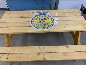 FFA Picnic Table and a $250 Gift Certificate to Jones Farm Meats, LLC.